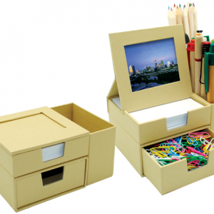 Message Box with Photo Frame and Stationery Holder a