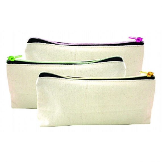 Canvas Pouch With Colourful Zipper 310