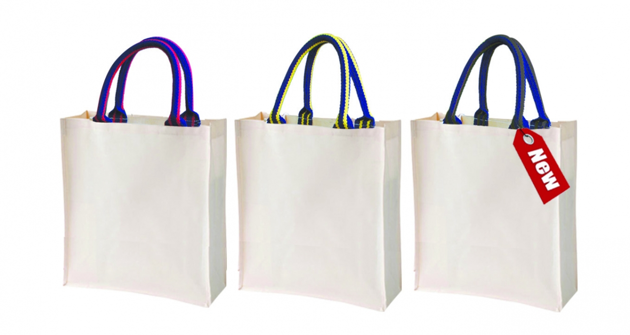 Laminated Canvas Bag with Stripe Handle
