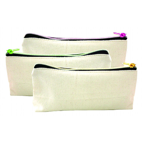 Canvas Pouch With Colourful Zipper